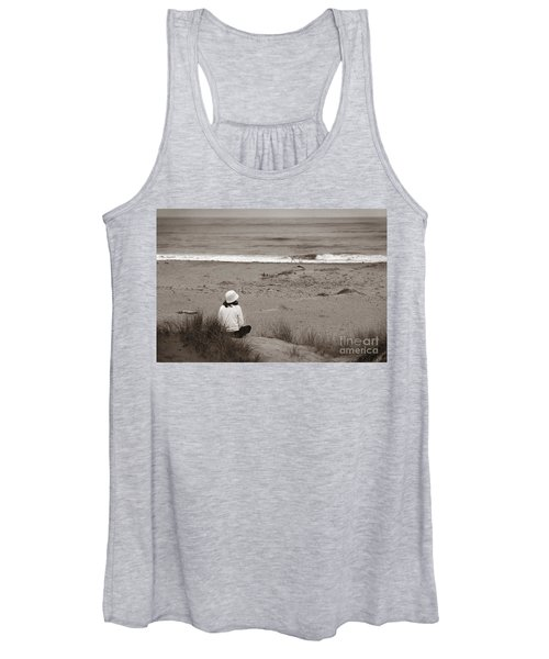 Watching The Ocean In Black And White Women's Tank Top