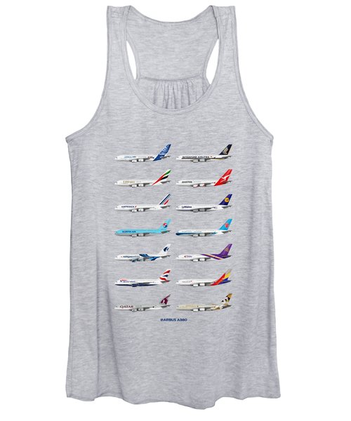 Airbus A380 Operators Illustration - Blue Version Women's Tank Top