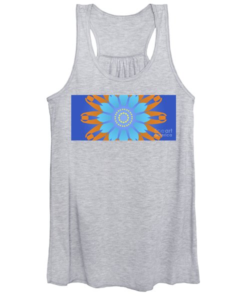 Abstract Blue, Orange And Yellow Star Women's Tank Top