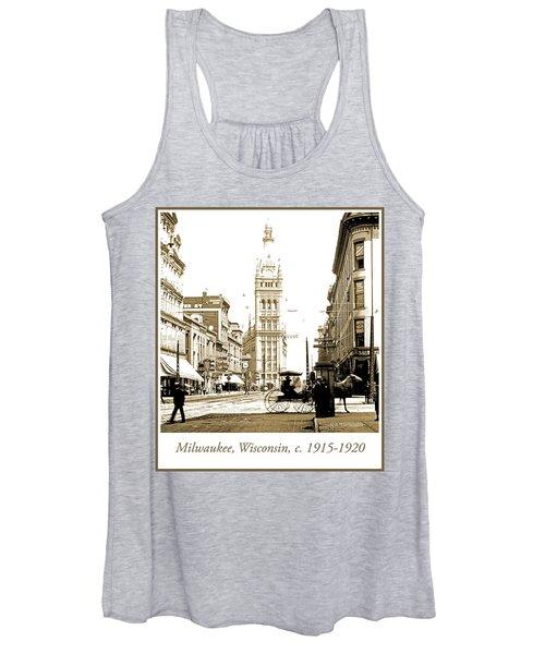 Downtown Milwaukee, C. 1915-1920, Vintage Photograph Women's Tank Top