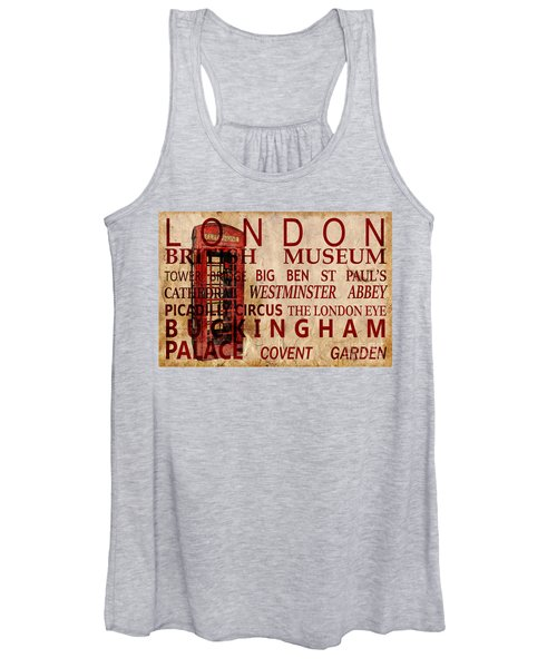 London Vintage Poster Red Women's Tank Top
