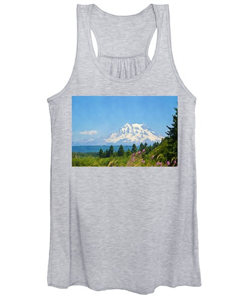 Mount Rainier Watercolor Women's Tank Top