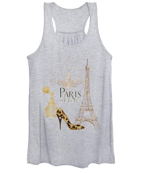 Paris - Ooh La La Fashion Eiffel Tower Chandelier Perfume Bottle Women's Tank Top