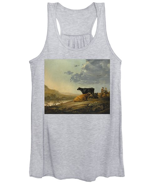 Young Herdsmen With Cows Women's Tank Top