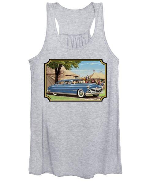1951 Hudson Hornet Fair Americana Antique Car Auto Nostalgic Rural Country Scene Landscape Painting Women's Tank Top