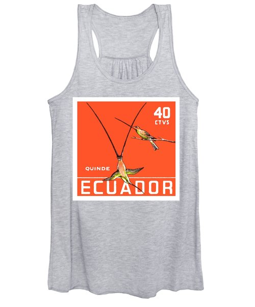1958 Ecuador Hummingbirds Postage Stamp Women's Tank Top