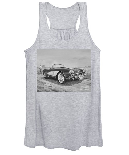 1959 Chevrolet Corvette Cabriolet In Black And White Women's Tank Top