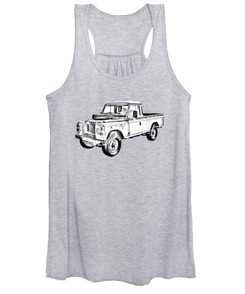 1971 Land Rover Pick Up Truck Drawing Women's Tank Top