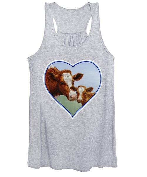 Cow And Calf Blue Heart Women's Tank Top