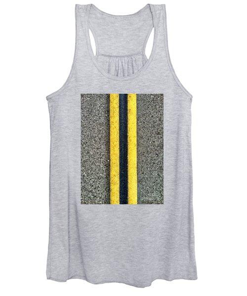 Double Yellow Road Lines Women's Tank Top