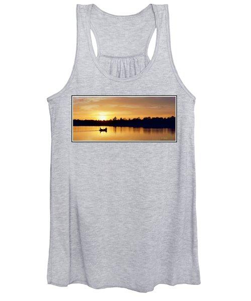 Fishermen On A Lake At Sunset Women's Tank Top