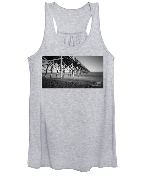 Folly Beach Pier Black And White Women's Tank Top