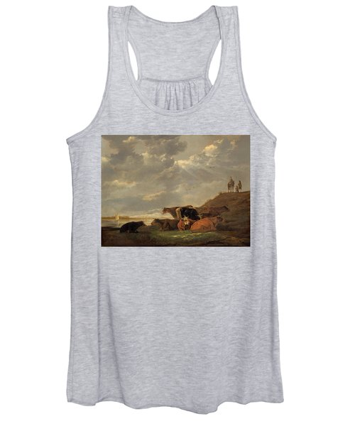 River Landscape With Cows Women's Tank Top