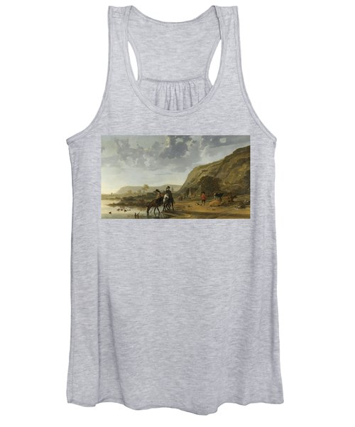 River Landscape With Riders Women's Tank Top