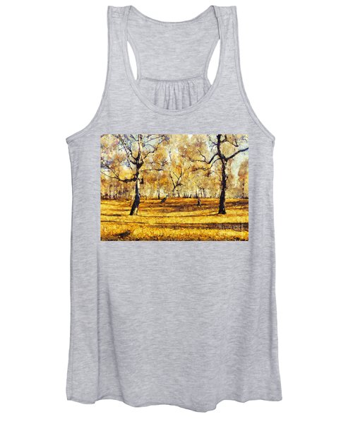 Watercolor Landscape Autumn Painting Forest Women's Tank Top