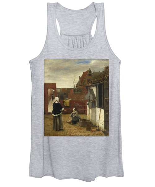 A Woman And Her Maid In A Courtyard Women's Tank Top