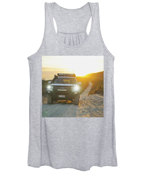 4wd Car Explores Sand Track In Early Morning Light Women's Tank Top