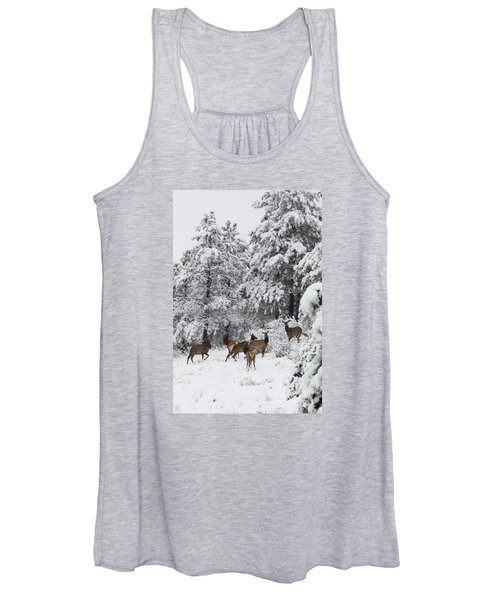 Elk In Deep Snow In The Pike National Forest Women's Tank Top
