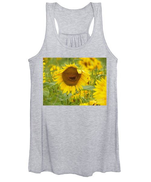 #933 D964 Plants Are People Too Colby Farm Sunflowers Women's Tank Top