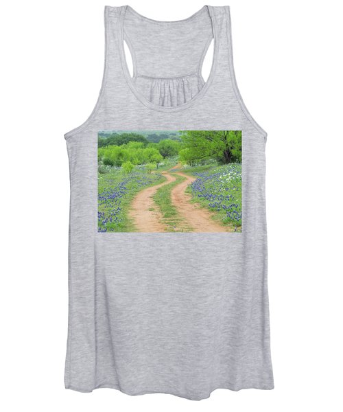 A Dirt Road Lined By Blue Bonnets Of Texas Women's Tank Top