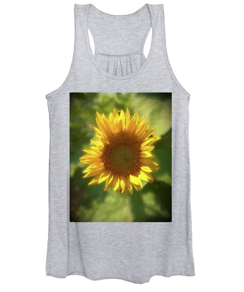A Single Sunflower Showing It's Beautiful Yellow Color Women's Tank Top