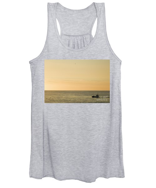 A Small Fishing Boat In Sunset Over Cardigan Bay Aberystwyth Ceredigion West Wales Women's Tank Top