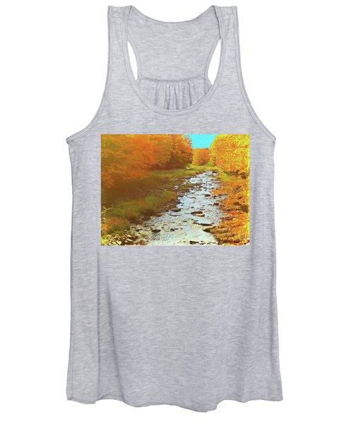 A Small Stream Bright Fall Color. Women's Tank Top