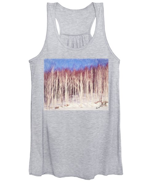 A Stand Of White Birch Trees In Winter. Women's Tank Top