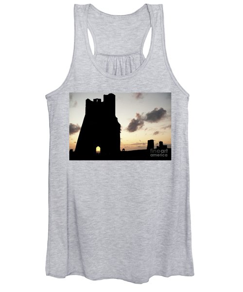 Aberystwyth Castle Tower Ruins At Sunset, Wales Uk Women's Tank Top