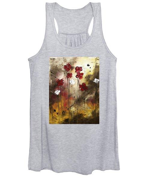Abstract Art Original Flower Painting Floral Arrangement By Madart Women's Tank Top