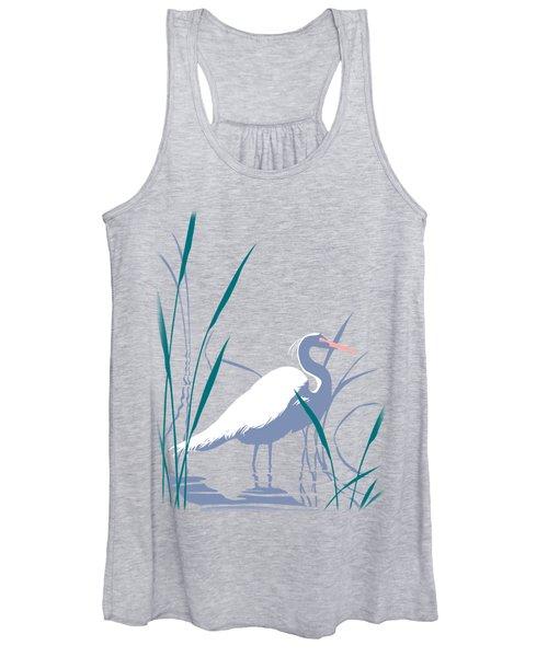 abstract Egret graphic pop art nouveau 1980s stylized retro tropical florida bird print blue gray  Women's Tank Top