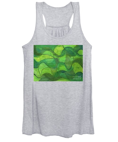 Abstract Green Wave Connection Women's Tank Top