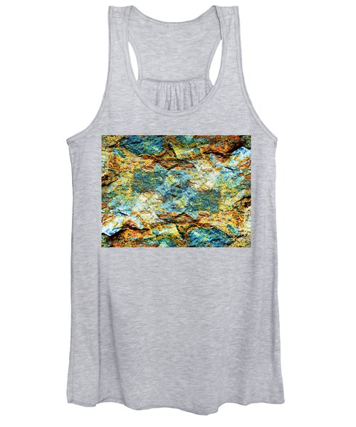 Abstract Nature Tropical Beach Rock Blue Yellow And Orange Macro Photo 472 Women's Tank Top