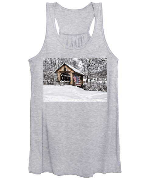 After A Winter Snow Storm Cilleyville Covered Bridge  Women's Tank Top