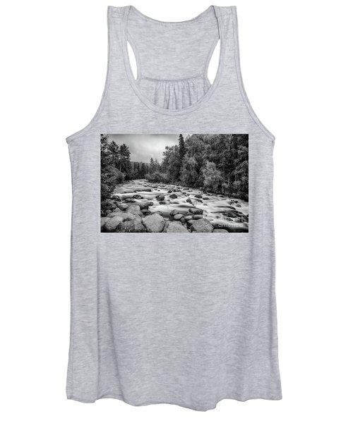 Alaskan Stream In Black And White Women's Tank Top
