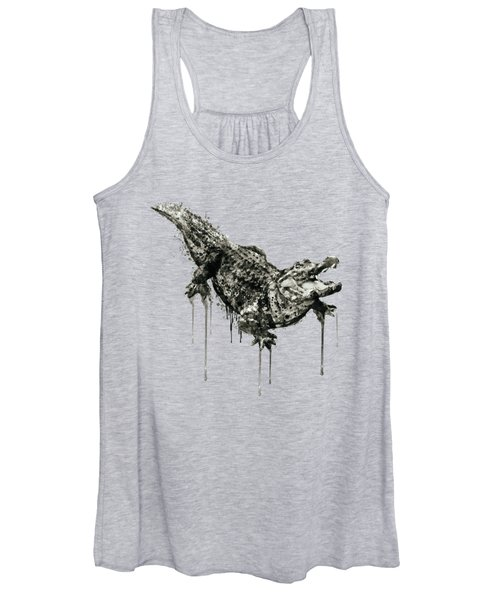 Alligator Black And White Women's Tank Top