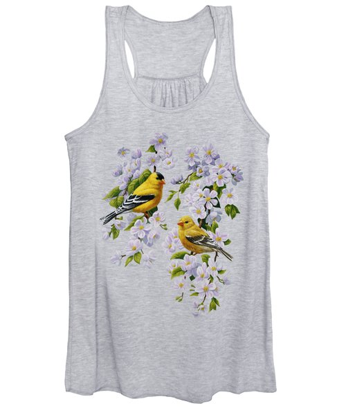 American Goldfinches And Apple Blossoms Women's Tank Top