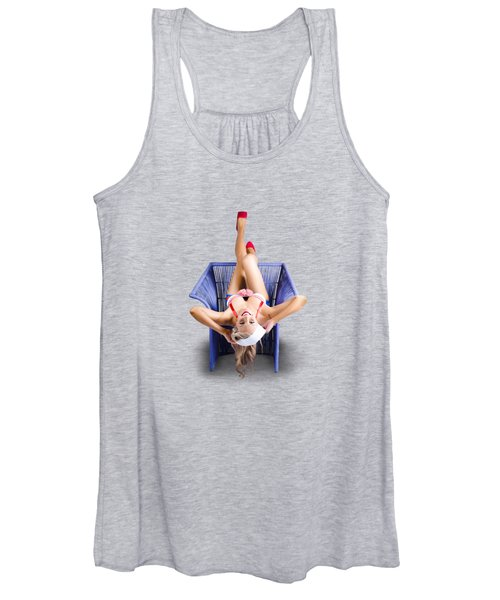 American Pinup Woman Upside Down On Cane Chair Women's Tank Top