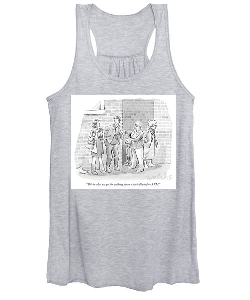 An Elderly Couple Holds Up A Young Couple Women's Tank Top