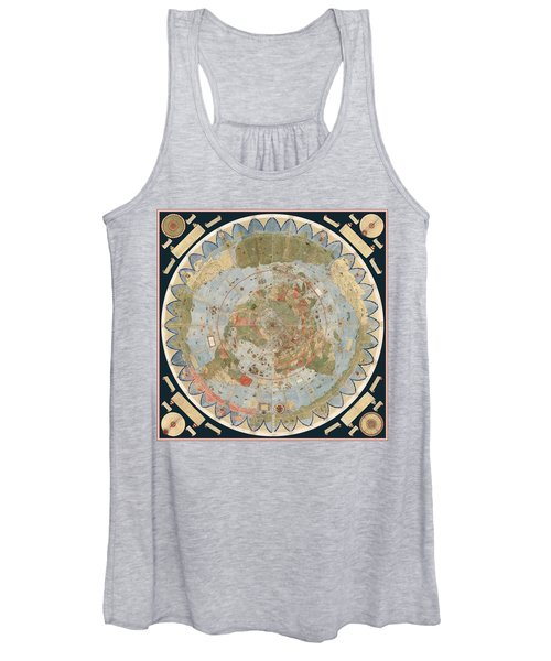 Antique Maps - Old Cartographic Maps - Flat Earth Map - Map Of The World Women's Tank Top