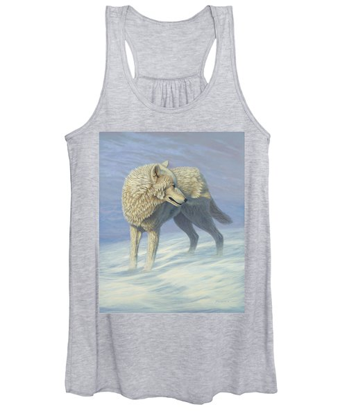 White Wolf In Blowing Snow, Acrylic Painting, Canine Women's Tank Top
