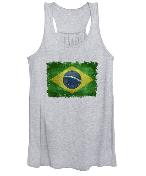 Flag Of Brazil Vintage 18x24 Crop Version Women's Tank Top