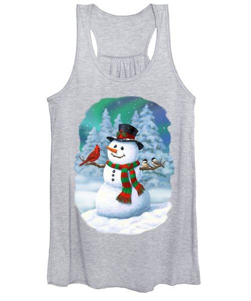Sharing The Wonder - Christmas Snowman And Birds Women's Tank Top