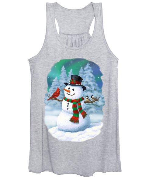 Sharing The Wonder - Christmas Snowman And Birds Women's Tank Top