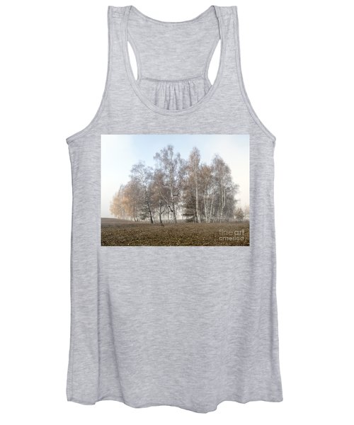 Autumn Landscape In A Birch Forest With Fog Women's Tank Top