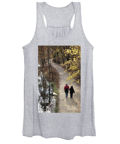 Autumn Walk On The C And O Canal Towpath With Oil Painting Effect Women's Tank Top