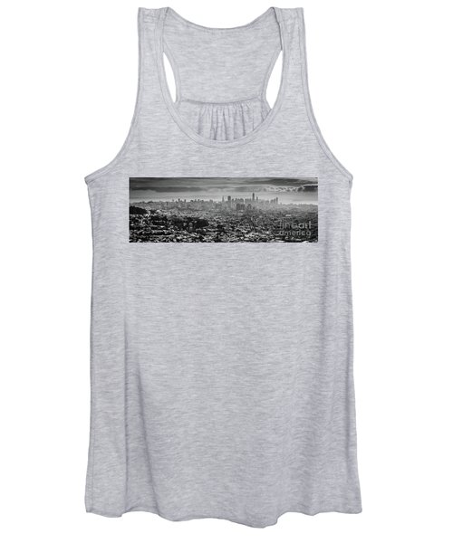 Back And White View Of Downtown San Francisco In A Foggy Day Women's Tank Top