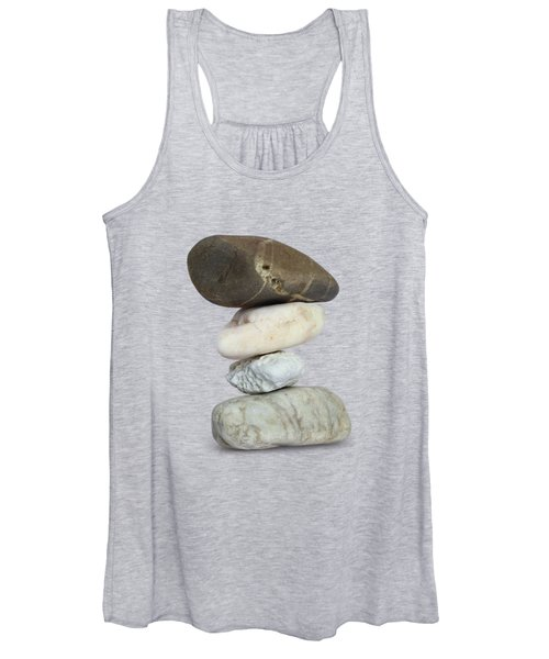 Balancing Stone Tower On White Background Women's Tank Top
