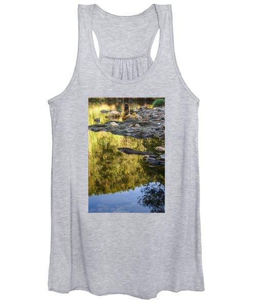 Balancing Zen Stones In Countryside River Ix Women's Tank Top