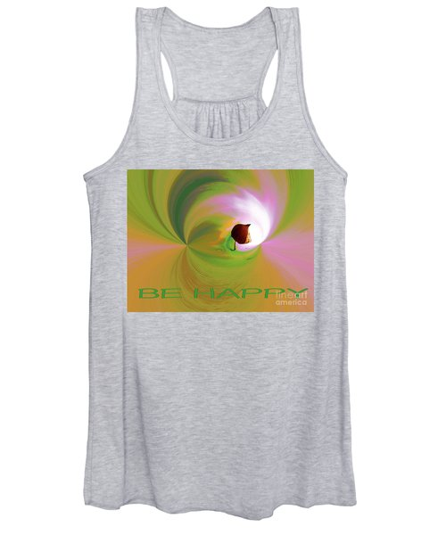 Be Happy, Green-pink With Physalis Women's Tank Top